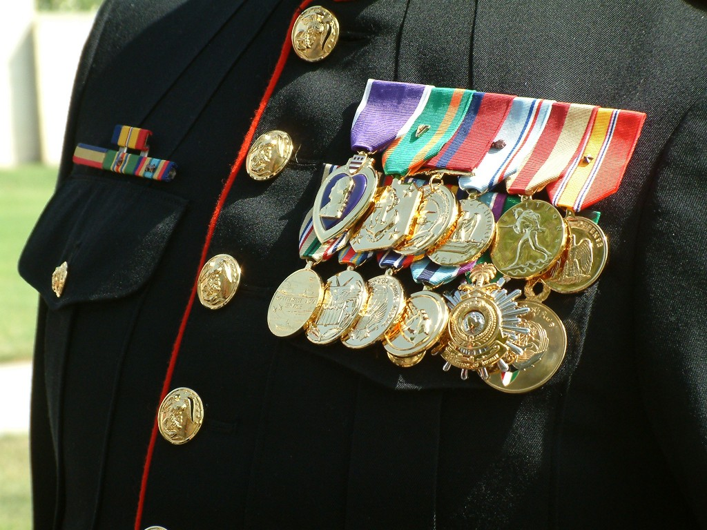 medals on chest
